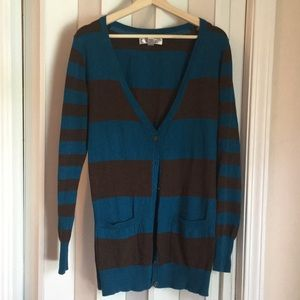 Blue and brown cardigan sz XL